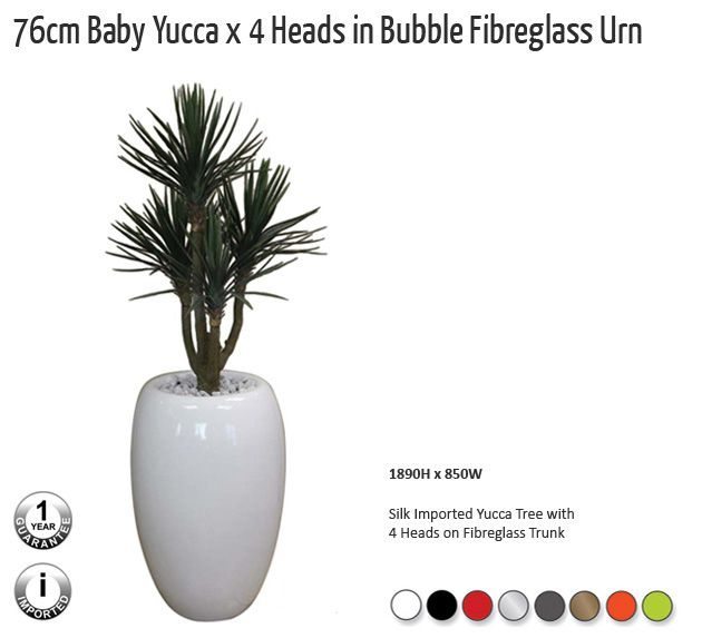 76cm baby yucca x4heads in bubble fibreglass urn